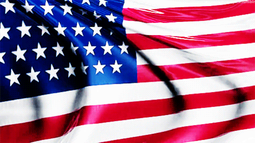 usa american flag waving in wind real close up animated gif