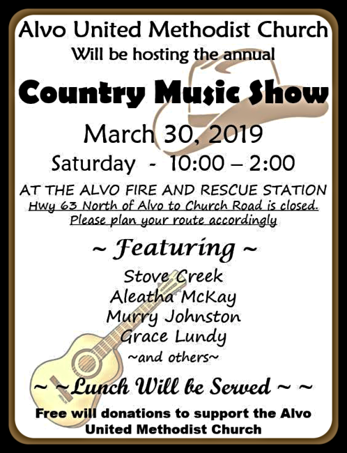 2019 03 20 Alvo Country Music Show Flier