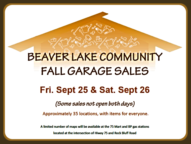 2020 09 23 Beaver Lake Community Garage Sale Flier 1