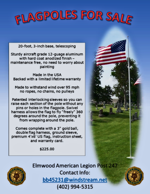 2018 06 27 ELM Flagpoles for sale