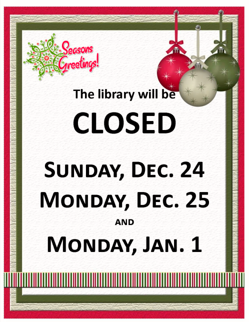 2017 12 20 PLT Library Closed XMAS