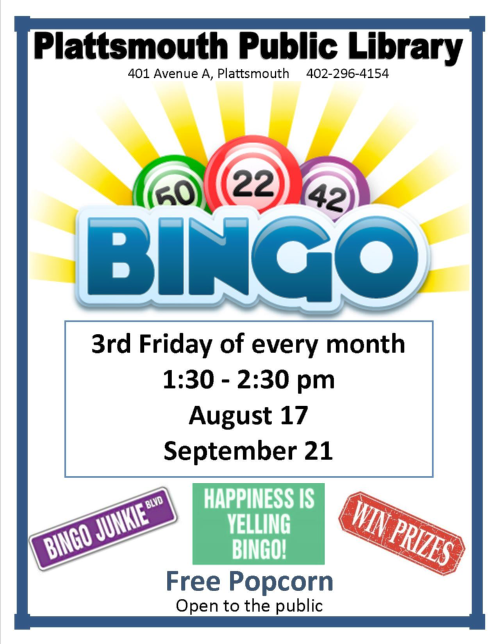 2018 08 08 PLT LIB Bingo on Fridays