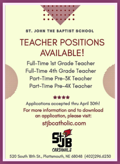 2019 04 03 PLT St JOHNS Teaching jobs