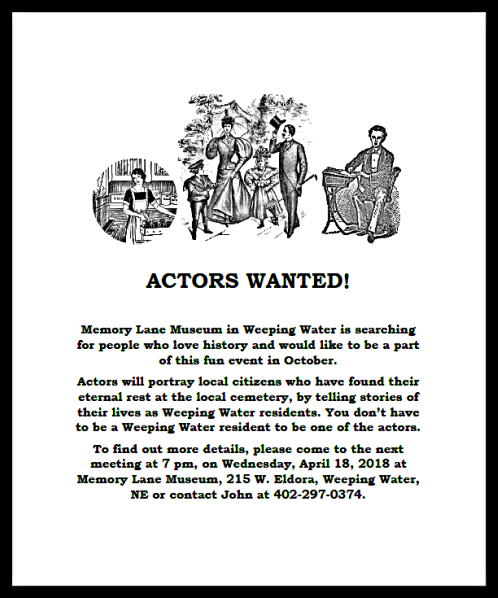 2018 04 04 ACTORS WANTED
